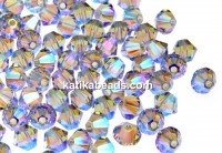 Swarovski, beads bicone, smoky mauve AB2x, 4mm - x20