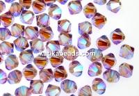 Swarovski, beads bicone, light amethyst AB2x, 4mm - x20