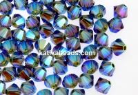 Swarovski, beads bicone, black diamond AB2x, 4mm - x20