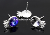 Earring base, 925 silver, rivoli 8mm - x1pair