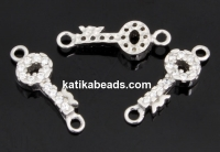 Link, key with crystals, 925 silver rhodium plated, 14mm  - x1