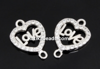Link, heart with crystals, 925 silver rhodium plated, 16mm  - x1