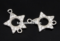 Link, star with crystals, 925 silver rhodium plated, 13mm  - x1