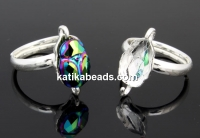 Ring, 925 silver, for Swarovki bead, 12mm scarab 5728 - x1