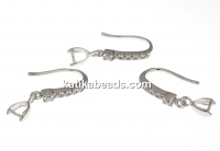 Earrings with crystals, 925 silver rhodium plated, 15mm - x1pair
