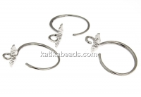 Earring findings, 925 silver rhodium plated, 18mm - x1pair