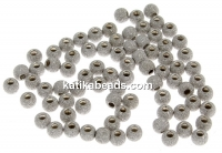 Decorative beads, stardust, 925 silver rhodium plated, 3mm - x10