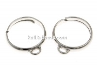 Ring base, 1 loop, 925 silver rhodium plated, adjustable, - x1