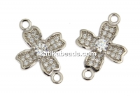 Link, cross with crystals, 925 silver rhodium plated, 16.5mm  - x1
