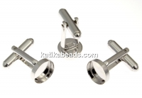 Cufflink base, 925 silver rhodium plated, for cabochon 10mm - x1 pair