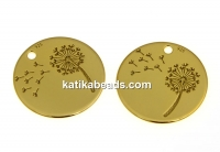 Pendant, dandelion coin, 925 silver gold plated, 14mm  - x1