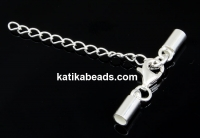 Clasp set for necklaces or bracelets, 925 silver, 3mm - x1