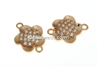 Link, flower crystals, rose gold-plated 925 silver, 12mm - x1