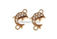 Link, dolphin crystals, rose gold-plated 925 silver, 10mm - x1