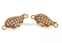 Link, wing crystals, rose gold-plated 925 silver, 13mm - x1