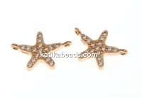 Link, star, crystals, rose gold-plated 925 silver, 12.5mm - x1