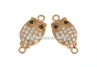 Link, owl with crystals, 925 silver rose gold plated, 14mm  - x1