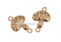 Link, mushroom with crystals, 925 silver rose gold plated, 13mm  - x1