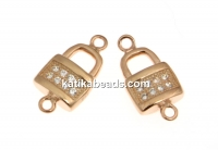 Link, lock with crystals, 925 silver rose gold plated, 13mm  - x1