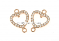 Link, heart with crystals, 925 silver rose gold plated, 12.5mm  - x1