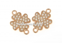 Link, clover with crystals, 925 silver rose gold plated, 14mm  - x1