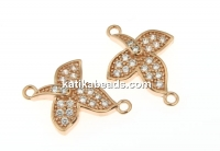 Link, orchid, rose gold-plated 925 silver, 15mm - x1