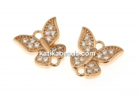 Link, butterfly crystals, rose gold-plated 925 silver, 9mm - x1