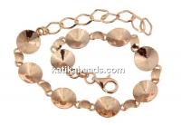 Bracelet base, 9 Link, rose gold-plated 925 silver, for rivoli 10mm - x1