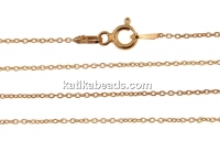 Chain, jump rings, oval, rose gold-plated 925 silver, 45cm - x1