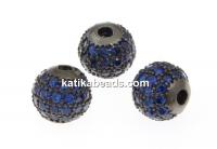 Decorative beads, black rhodium-plated 925 silver, 8mm - x1