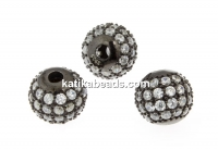 Decorative beads, black rhodium-plated 925 silver, 8mm - x1