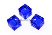 Swarovski, cube bead, majestic blue, 6mm - x2