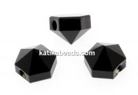 Swarovski, hexagon spike beads, jet, 5.5mm - x4