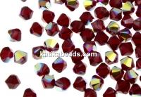 Swarovski, bicone bead, siam aurore boreale, 4mm - x20