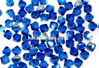 Swarovski, bicone bead, capri blue aurore boreale, 4mm - x20