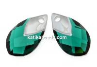 Swarovski, drop pendant, emerald lt. chrome, 18mm - x1