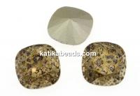 Swarovski, fancy square, lt. colorado topaz gold patina, 12mm - x1