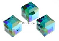 Swarovski, cube bead, emerald AB, 6mm - x2