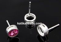 Earings for rivoli or chaton 6mm, 925 silver, 15mm - x1pair