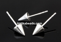 Earring findings,  925 silver, cone - x1pair