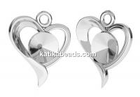 Pendant base, 925 silver, heart, rivoli 6mm - x1