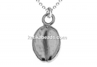 Pendant, 925 silver, coffee bean, 13mm - x1