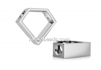 Pendant, 925 silver, diamond, 12mm - x1