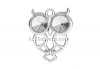 Pendant base, 925 silver, owl, rivoli 6mm - x1