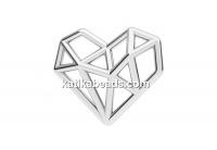 Link, diamond heart, 925 silver, 15.5mm - x1
