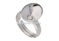 Ring base, 925 silver, adjustable, fancy rivoli 14x10mm - x1