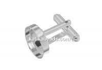 Cufflink base, 925 silver, round tray 14mm - x1 pair