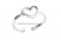 Ring heart, 925 silver, adjustable - x1