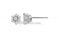 Earrings crystal, 925 silver - x1pair