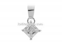 Pendant crystal, 925 silver, 18x9.5mm - x1